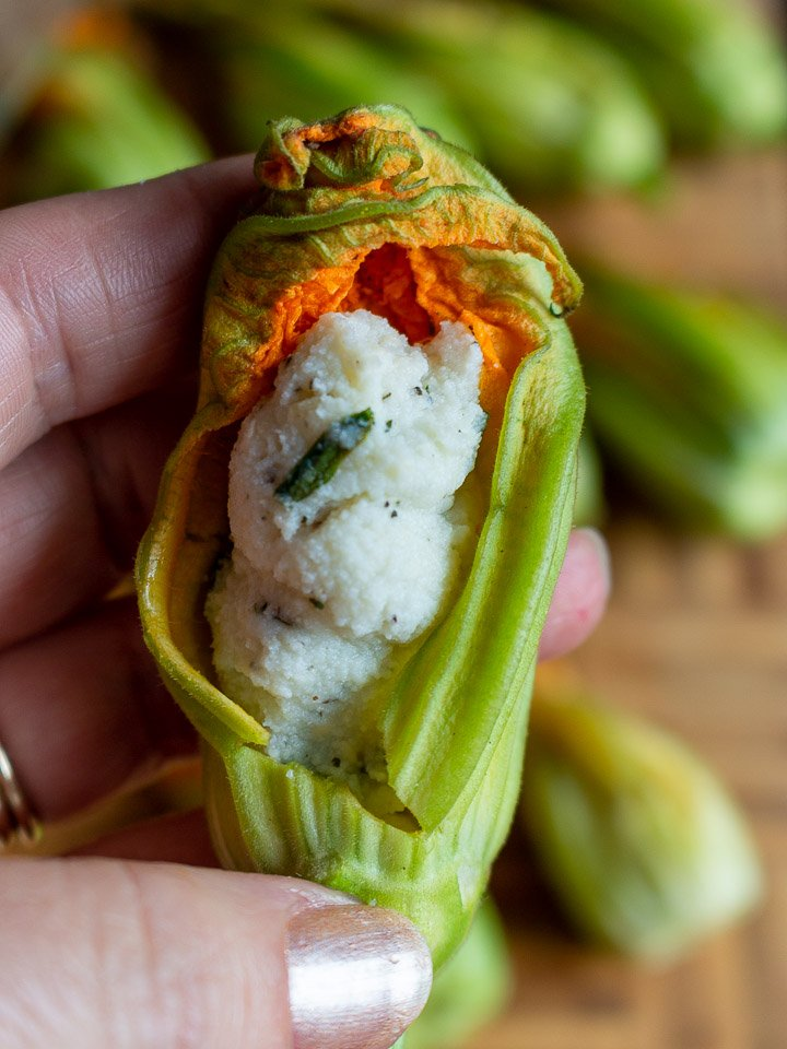 squash blossom opened to show the ricotta stuffing inside.