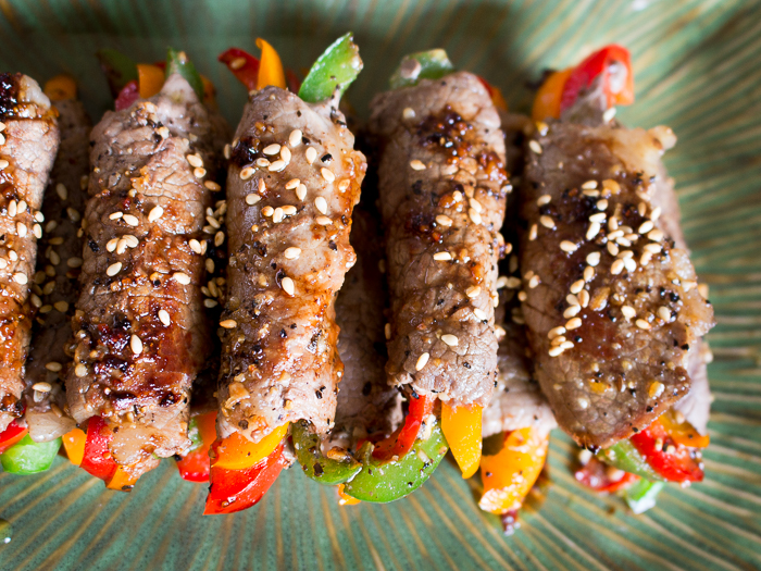 Overhead shot of Asian Beef roll ups