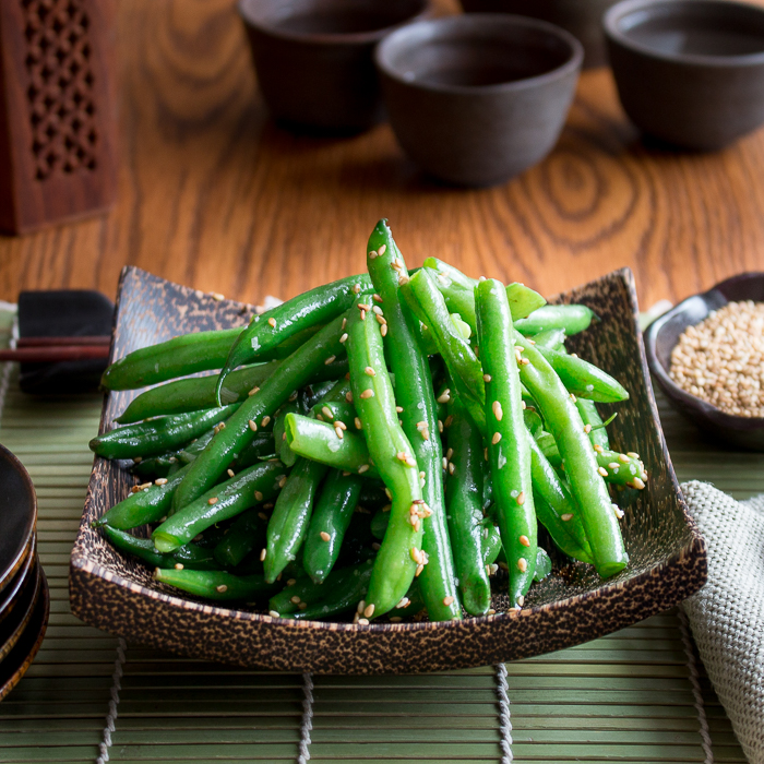 Garlicky Sesame Stir Fried Green Beans read to be served