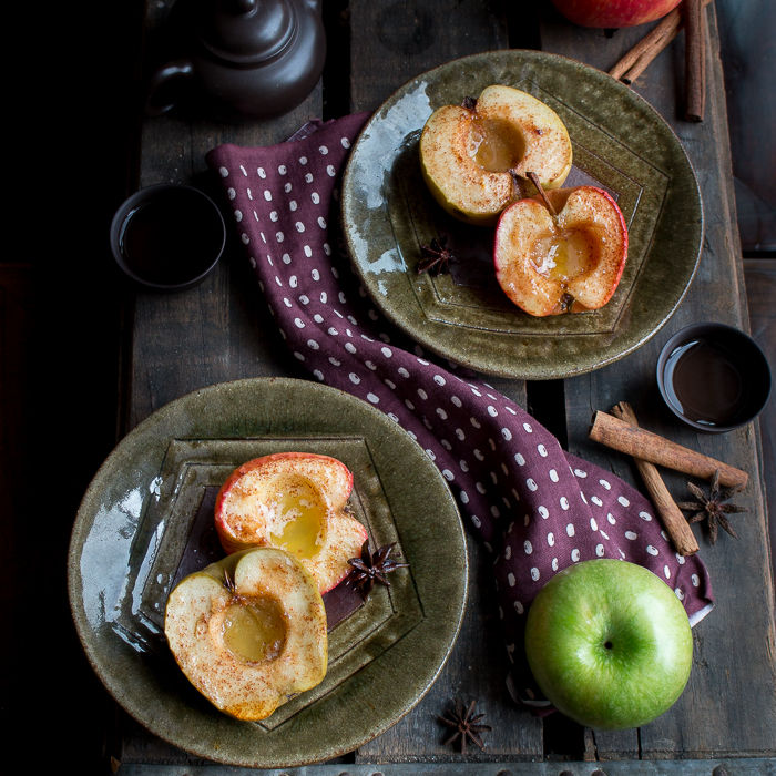 Easy Peasy Baked apples without whipped topping 2 plates and tea