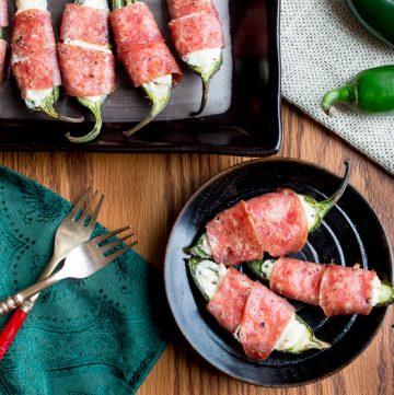 Baked Cheesy Salami Wrapped Jalapeños / https://www.hwcmagazine.com