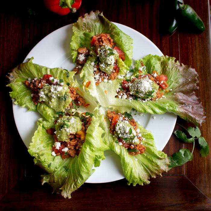 Top down shot of 5 turkey taco lettuce wraps