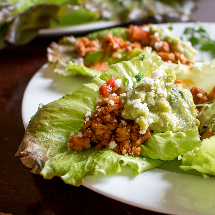 zoomed in close up turkey taco lettuce wraps