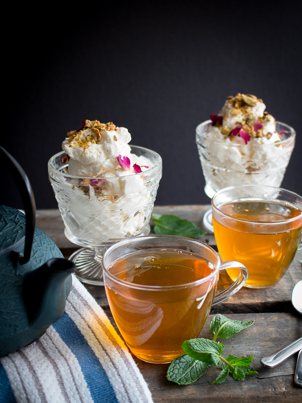 Healthy Moroccan Mint Tea with lemon rose cardamon cheesecake mousse cups