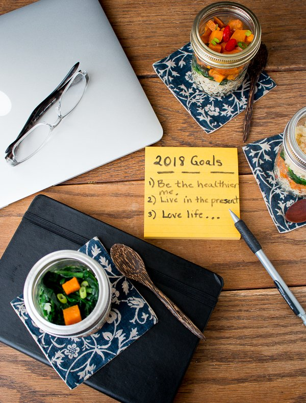 2018 New Year goals with lunch and computer