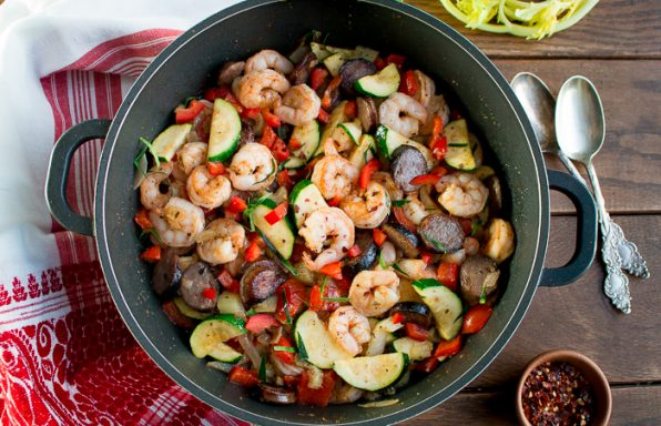 Low Carb Shrimp and Sausage Skillet/ https://www.hwcmagazine.com