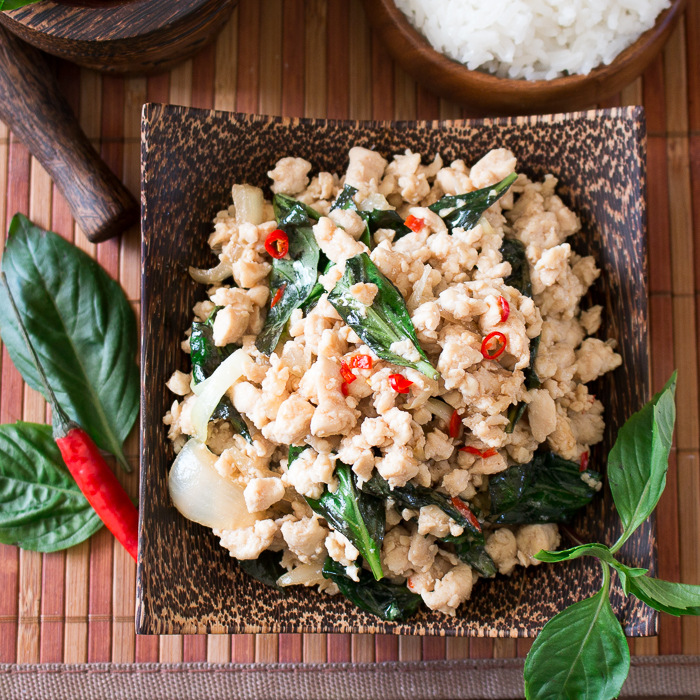 Spicy Holy Basil Chicken (Pad Krapow Gai) / https://www.hwcmagazine.com