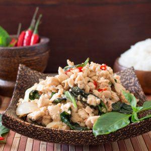 Spicy Holy Basil Chicken (Pad Krapow Gai) / https://www.hwcmagazine.com
