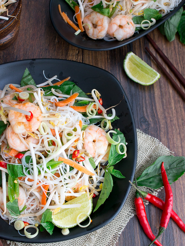 Close up so you can see the succulent shrimp, Vermicelli noodles and super fresh crisp herbs.