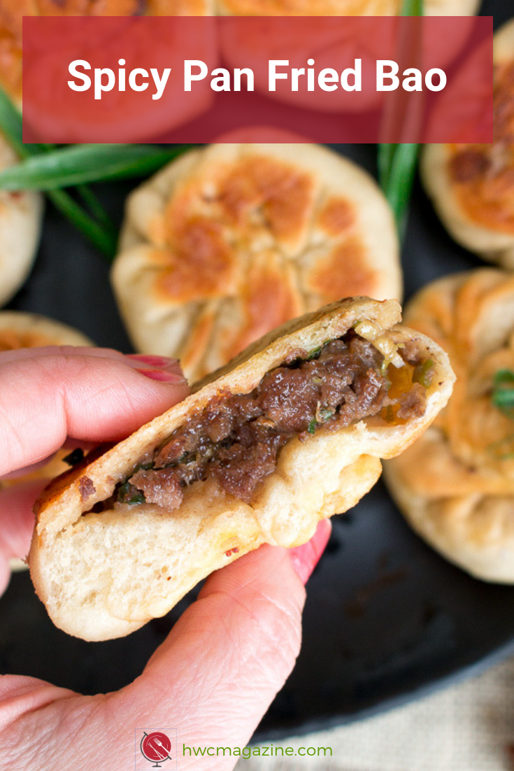 Spicy Pan Fried Beef Bao is one delicious dim sum bite filled with tender ground beef, Sichuan Peppercorns, Five Spice and green onions in a delightful delicately pan fried beef bun. Gluten Free Recipe Options too! #chinese #bao #dimsum #beef #pastry #appetizer / https://www.hwcmagazine.com