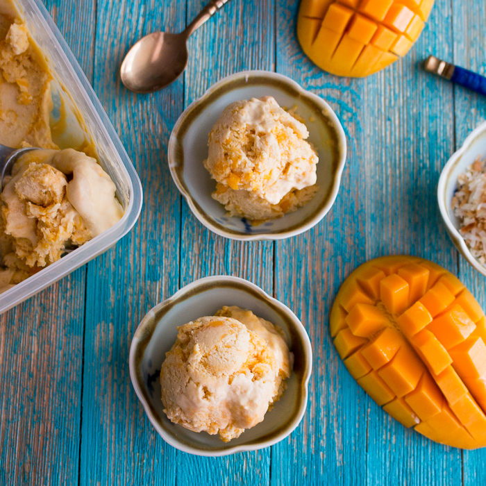 No-Churn Dairy Free Mango Swirl Ice Cream / https://www.hwcmagazine.com