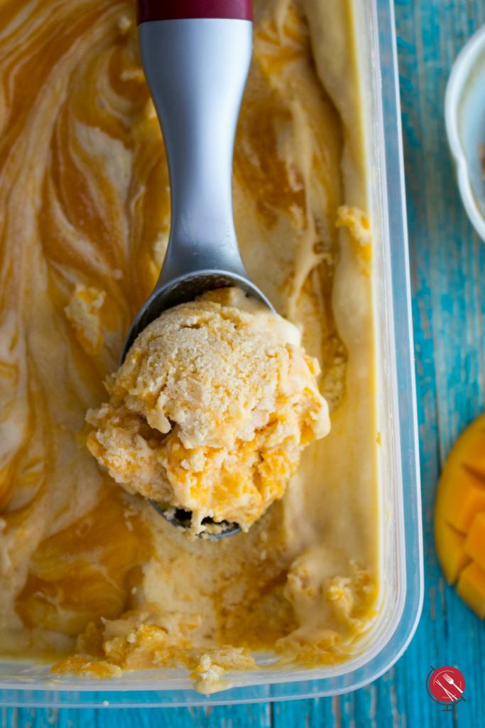 No-Churn Dairy Free Mango Swirl Ice Cream : hwcmagazine.com #dairyfree #icecream #dessert #nochurn #iglutenfree