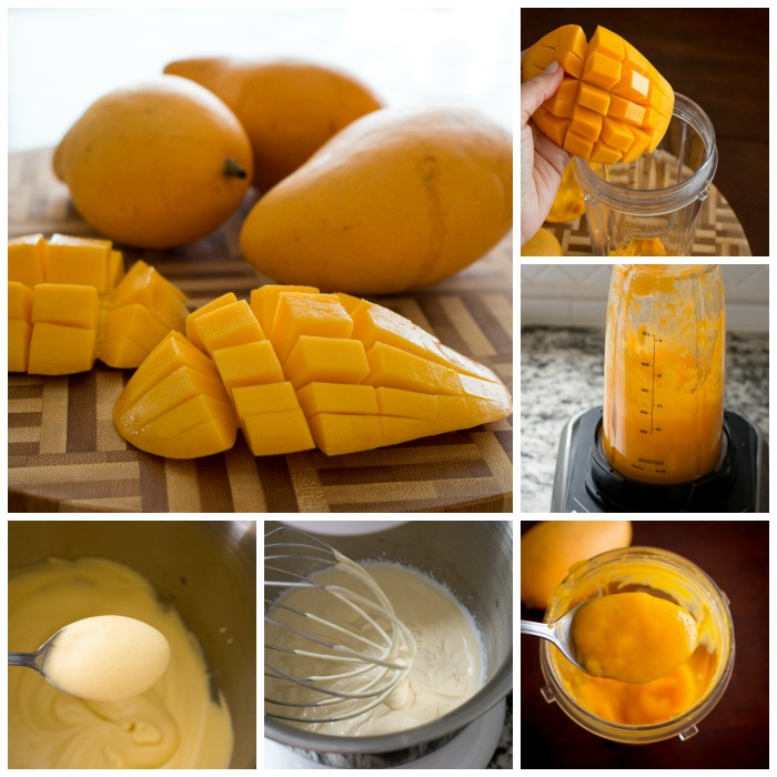 Step by step photos on puree the mango and adding the coconut cream and then pouring into a freezer safe container.