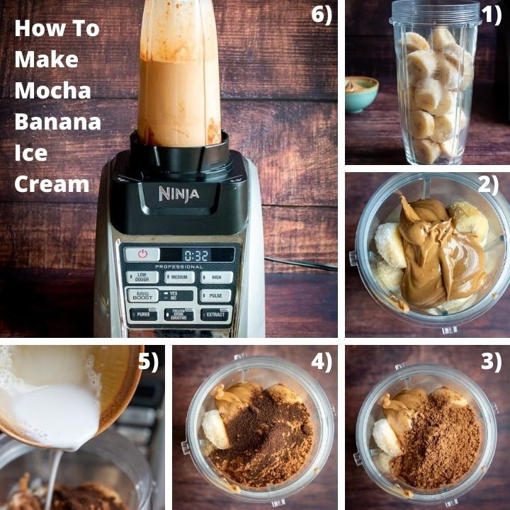 Step by step how to add the ingredients into the blender.