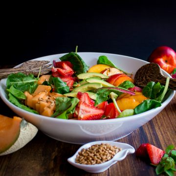 Summer Salad with Strawberry Rose Dressing / https://www.hwcmagazine.com
