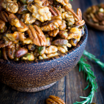 Stove Top Rosemary Party Nuts /#nuts #appetizer #lowcarb #hearthealthy #snack #pecans #walnuts #pistachios / https://www.hwcmagazine.com