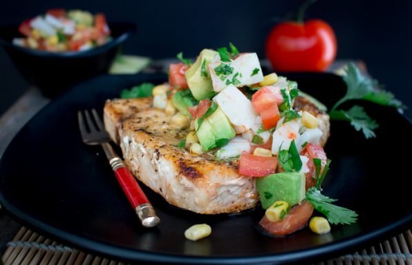 Grilled Swordfish with Summer Vegetable Crab Salsa / https://www.hwcmagazine.com