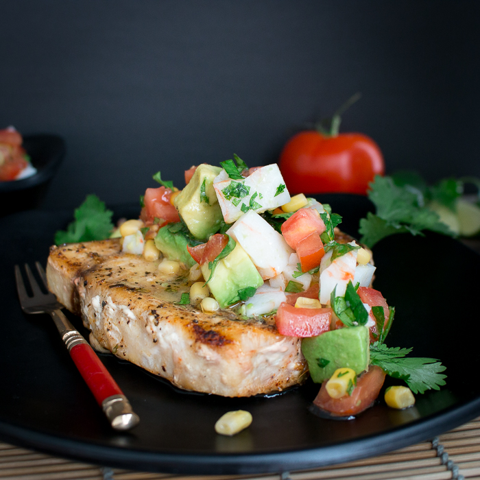Grilled Swordfish with Summer Vegetable Crab Salsa / https://www.hwcmagazine.com