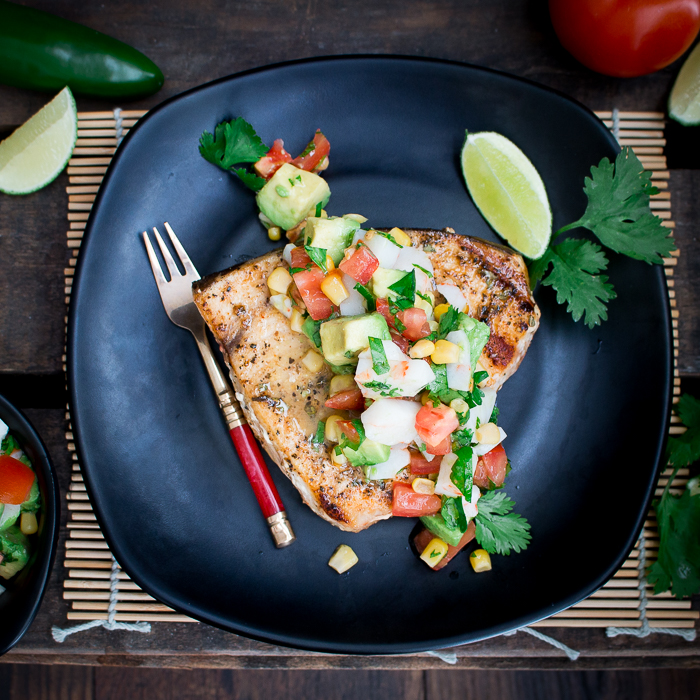 Grilled Swordfish with Summer Crab Salsa / https://www.hwcmagazine.com