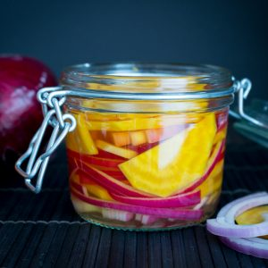Gingered Red Onion Pickled Golden Beets / https://www.hwcmagazine.com