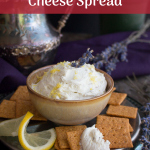 Lemon Lavender Goat Cheese Spread is a fast and easy summertime appetizer. Perfect dip on vegetables, crackers and crostini and pairs well with a crisp white wine #lowcarb #appetizer #cheese #lavender #snack #gutfriendly / https://www.hwcmagazine.com