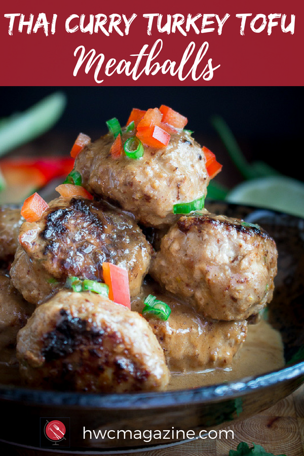 Thai Curry Tofu Meatballs are low carb and ready in under 30 minutes . #thai #meatballs #lowcarb #keto #asianrecipe #curry / https://www.hwcmagazine.com