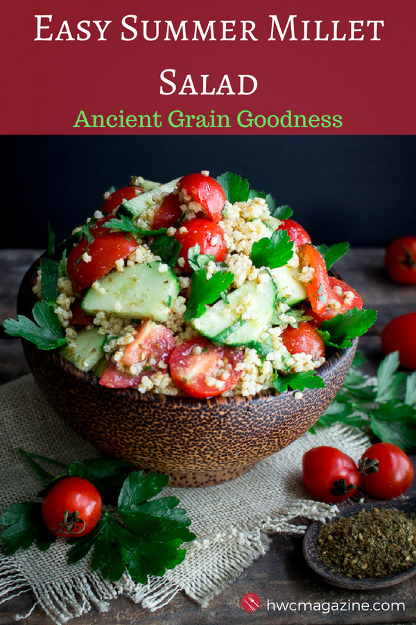 Easy Summer Millet Salad is an ancient grain gluten-free vegan salad bursting with fresh heirloom tomatoes, cucumbers and a zippy lemon Zaatar dressing. #middleeastern #salad #ancientgrain #millet #summer #tomatoes #sidedish #potluck #dishtopass / https://www.hwcmagazine.com
