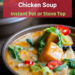 Creamy Thai Sweet Potato Chicken Soup is an easy gluten-free recipe with red curry spiced coconut broth, chicken, sweet potatoes and veggies cooked in the instant pot or stove top. Whole30, Paleo and a Less than 30- minute meal! #soup #thai #sweetpotato #redcurry #instantpot #whole30 #glutenfree #dairyfree / https://www.hwcmagazine.com