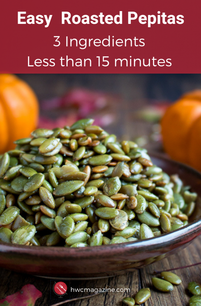 Easy Roasted Pepitas are crunchy, toasty pumpkin seeds without the shell. Perfect for snacking or as a topping for soups, salads, and many recipes. 3 ingredients and less than 15 minutes / https://www.hwcmagazine.com