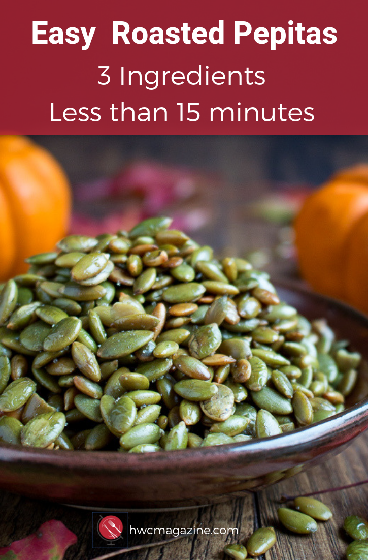 Easy Roasted Pepitas are crunchy, toasty pumpkin seeds without the shell. Perfect for snacking or as a topping for soups, salads, and many recipes. 3 ingredients and less than 15 minutes #snacks #gameday #appetizer #easyrecipe #pumpkin #fallrecipes / https://www.hwcmagazine.com