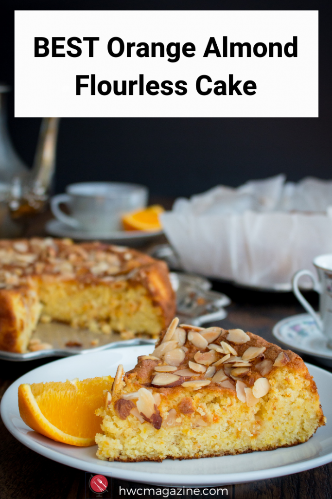 BEST ORANGE ALMOND FLOURLESS CAKE is a super moist, lightly sweet gluten-free Spanish cake made with whole oranges and orange peel. Gluten-free and only 5 ingredients make this cake perfect for gatherings and even as a breakfast treat. #cake #dessert #spanish #glutenfree #teatime / https://www.hwcmagazine.com