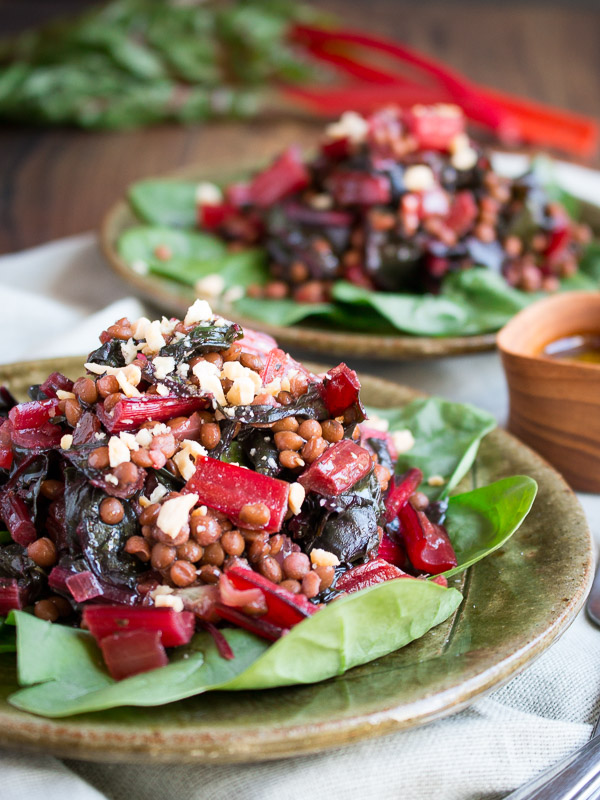 Best Vegan Warm Swiss Chard Lentil Salad / https://www.hwcmagazine.com