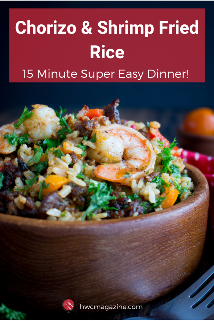 Chorizo and Shrimp Fried Rice is one super easy less than 15-minute one pan Spanish meal using leftover brown rice, vegetables of choice, spicy gluten free chorizo and shrimp. #rice #easyrecipe #easydinner #spanish #shrimp #chorizo #glutenfree / https://www.hwcmagazine.com