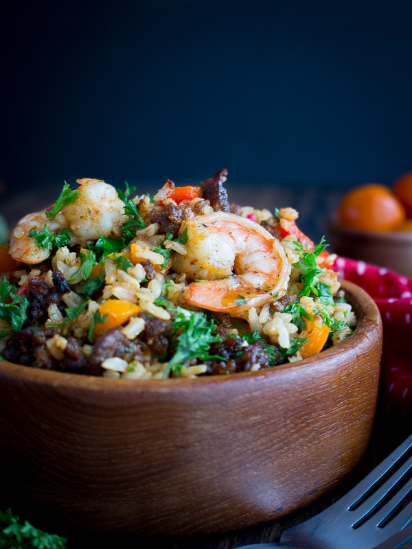 Chorizo and Shrimp Fried Rice / https://www.hwcmagazine.com