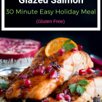 Baked Pomegranate Glazed Salmon is a flaky and succulent fish recipe slathered in an easy sweet, savory, spicy pomegranate molasses orange glaze. Easy Fabulous Holiday Meal in under 30 Minutes. #salmon #pomegranate #holiday #christmas #fish #easyrecipe #healthyrecipe #cleaneating / https://www.hwcmagazine.com