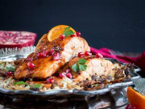Baked Pomegranate Glazed Salmon / https://www.hwcmagazine.com