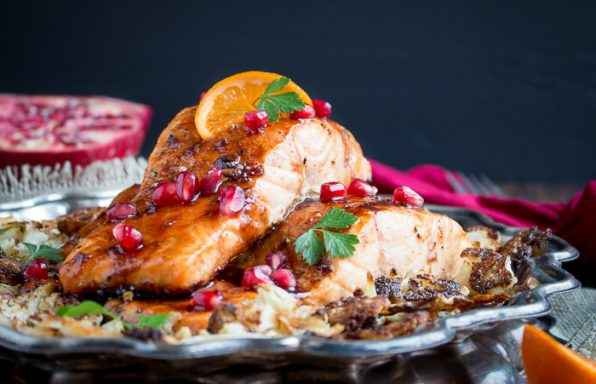 Baked Pomegranate Glazed Salmon / https://www.hwcmagazine.com