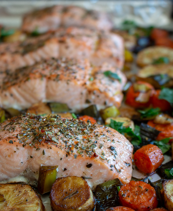Balsamic Glazed Salmon and Roasted Root Vegetables / https://www.hwcmagazine.com