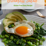 Sautéed Greens Breakfast Salad is a super easy, nourishing and packed with protein meal to keep you going all morning and afternoon long. Gluten free and Candida Diet friendly. #breakfast #greens #edamame #eggs #easyrecipe #brunch #glutenfree #candidadiet / https://www.hwcmagazine.com