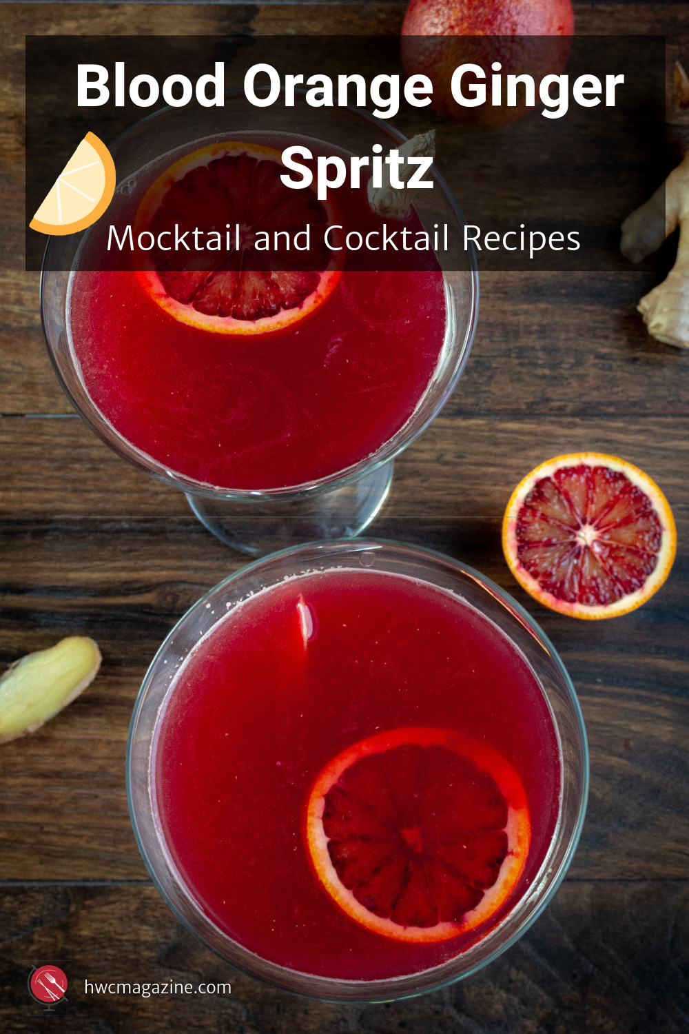Blood Orange Ginger Spritz is a refreshing fruity Italian cocktail made with freshly squeezed blood oranges, vodka, Aperol, fresh ginger zest and a splash of seltzer water. Mocktail recipe without alcohol included too. #bloodoranges #italian #cocktail #mocktail #beverage #drink #party / https://www.hwcmagazine.com