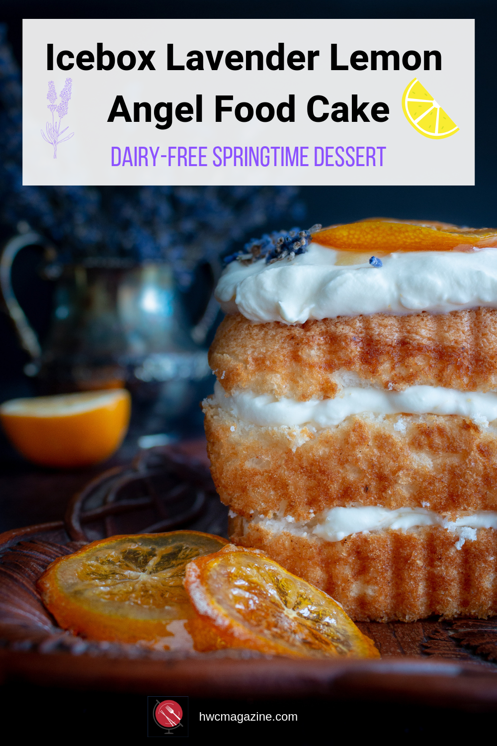 Icebox Lavender Lemon Angel Food Cake is light and fluffy with a delicious lavender Meyer lemon honey dairy free topping between 3 layers of angel food cake. Almost homemade and a show stopper spring dessert. #dessert #lavender #honey #cake #easter #springtime #sweets #dairyfree #easyrecipe #lemon / https://www.hwcmagazine.com