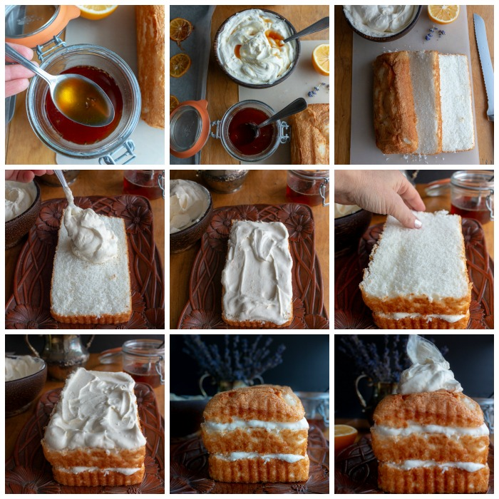 Step by step process for making the icebox cake.