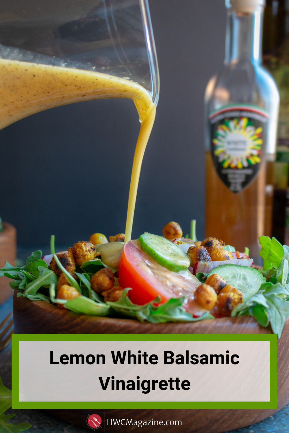 Lemon White Balsamic Vinaigrette (dressing) is a refreshing, light and zippy easy homemade vinaigrette perfect for tossed salads, pasta salads, drizzled on grilled peaches, chicken or fish. #salad #dressing #vinaigrette #Italian #whitebalsamic #Sicilian #healthyliving #easyrecipe / https://www.hwcmagazine.com