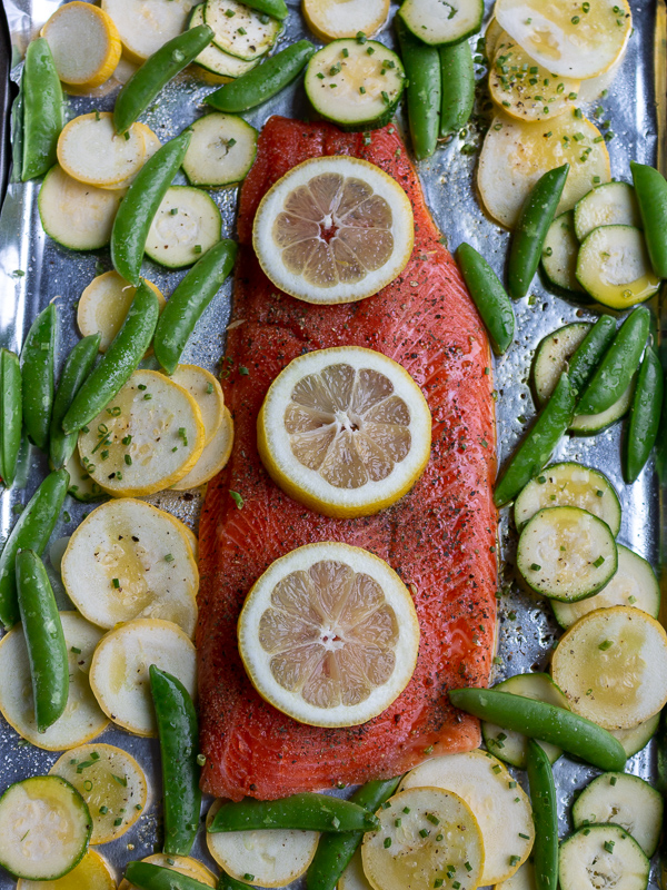 Lemon Herb Rainbow Trout prepped and ready for the oven.
