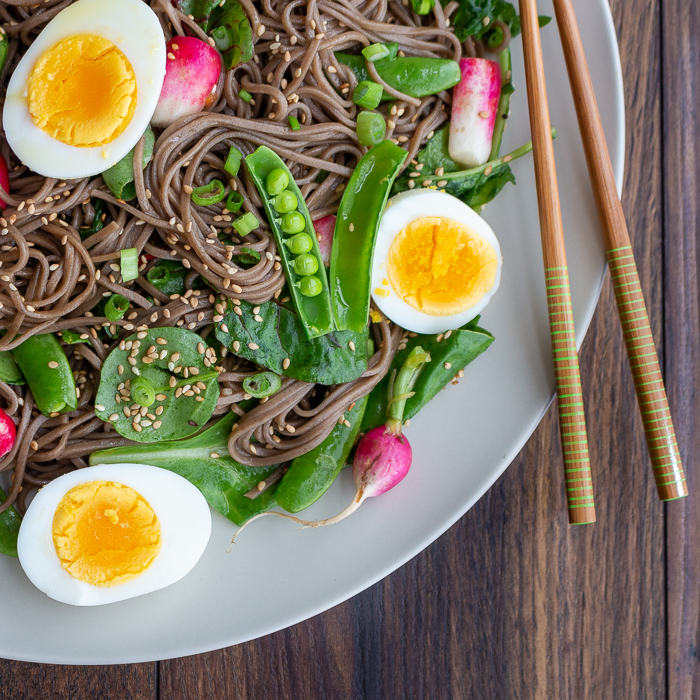 Close up shot of swirled soba noodles with snap peas, radishes and slices of hard boiled eggs and chopsticks on the side of the plate.
