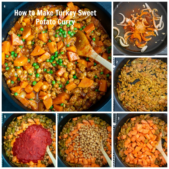 Step by Step adding all the ingredients in the pan to make ground turkey sweet potato curry.