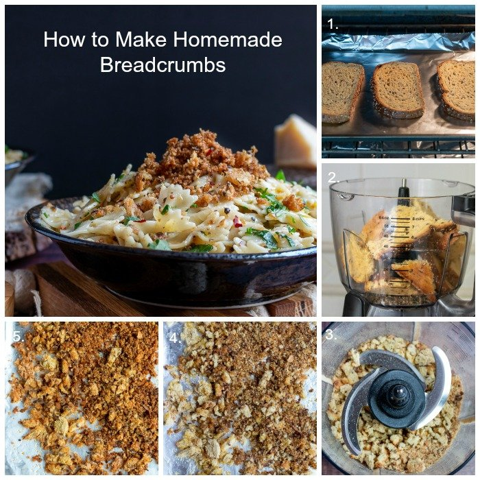 Step by Step one through 5 how to make Homemade Bread Crumbs.