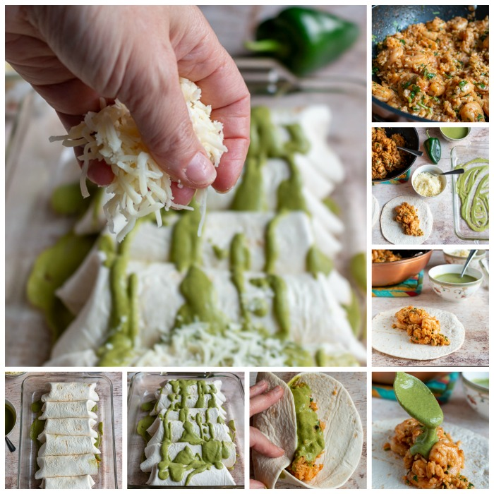 Step by Step how to assemble your Shrimp Burritos.