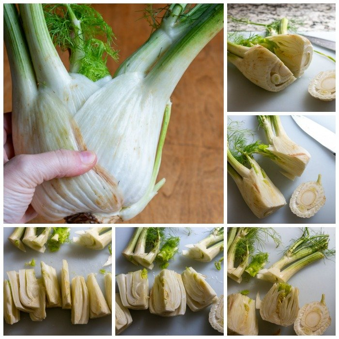 Step by Step, how to cut up a fennel bulb.