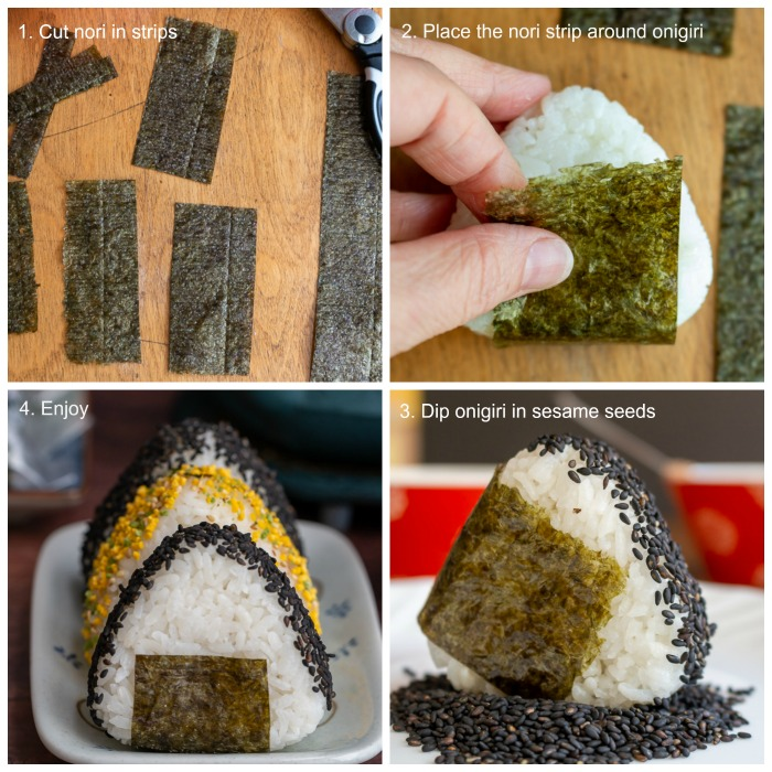 4 Steps on how to cut and wrap fresh onigiri and dip into sesame seeds.